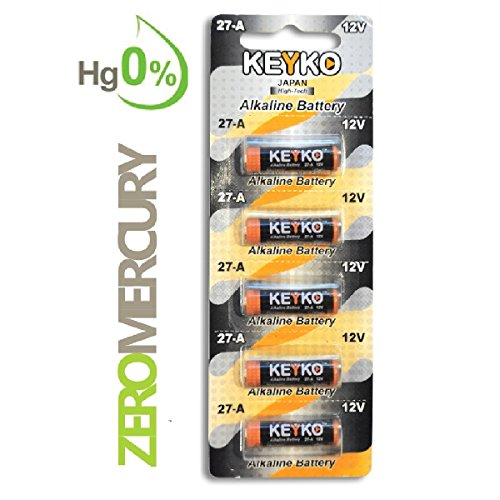 A27 Alkaline 12V Battery 27A . 5-Pcs Pack Genuine KEYKO ® JAPAN High Tech™ for Remote controls , alarm , keyless entry , electronics and so more
