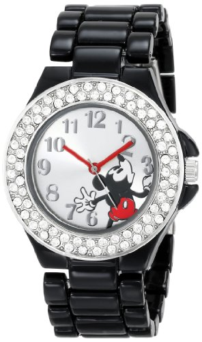 Disney Women's MK2074 Mickey Mouse Silver Dial Black Enamel Bracelet Watch (Dial Black Enamel)