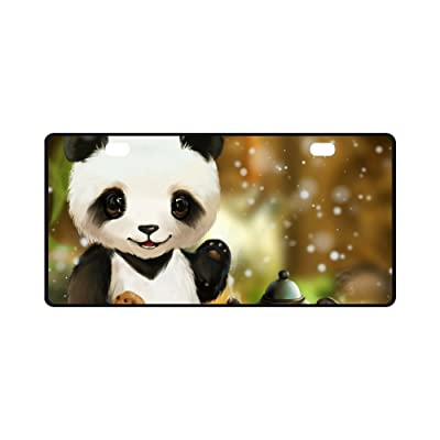 INTERESTPRINT Funny Animal Panda with Tea Party Metal License Plate for Car, Metal Auto Tag for Woman Man, 11.8 x 6.1 Inch: Automotive [5Bkhe0901641]