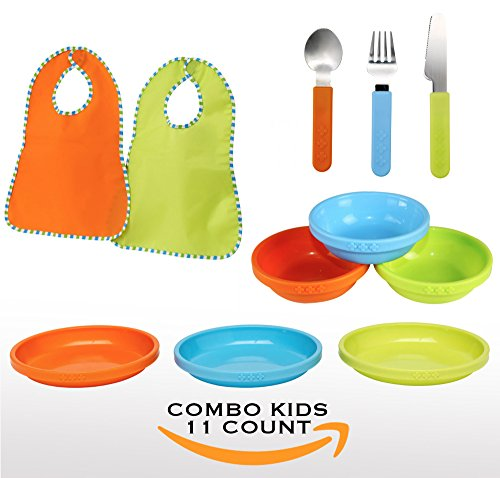 IKEA SMASKA Baby Toddler Color Bowls and Plates Dinning Set -Microwavable Dishwasher Safe BPA-Free/Great for Cereal, Chips, Snack, Side, Dip, Soup (Multicolor, Combo Plates + Bowls + Spoons + Bibs)