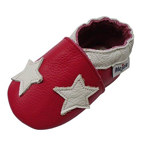 Mejale Weiche Sohle Leder Babyschuhe Lauflernschuhe Krabbelschuhe Kleinkind Kinderschuhe Hausschuhe Karikatur Sterne 0-3 Jahre Rose rot