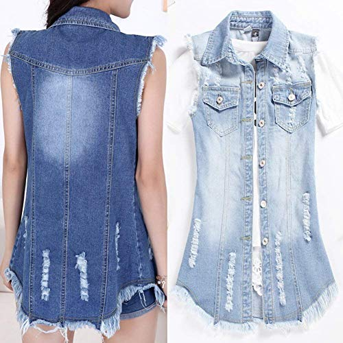 Casual Button Jacket Autunno Smanicato Bavero Tasche Donna Vintage Chic Giacca Jeans Gilet Hell Primaverile Lunga Eleganti Moda Cute Accogliente Blau Con wPPaTXqO