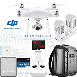 DJI Phantom 4 Pro Quadcopter Drone Camera with Battery, Charging Hub, Custom Backpack and 64GB Memory Card (CP.PT.000488)