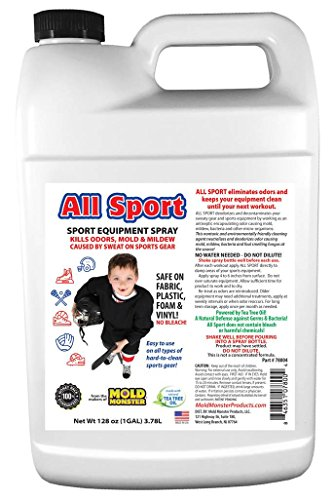 All Natural ALL SPORT Smell, Bacteria and Mold Eliminator - For ALL Sports  Equipment from Cleats and Helmets to Lockers and Bags - 1 Gallon Bottle