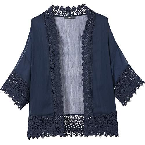Ellos Women's Plus Size Sheer Lace Trim Kimono Cardigan - Navy, 26/28