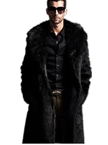Amazon.com: YABEIQIN Men Faux Fur Coat Long Jacket Outerwear ...