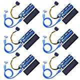 Kuman 6-Pack PCI-E 16x to 1x Powered Riser Adapter Card w/ 60cm USB 3.0 Extension Cable & 6 Pin PCI-E to SATA Power Cable GPU Riser Adapter Extender Cable - Ethereum Mining ETH K81