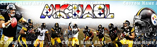 Personalized Pittsburgh Steelers NFL Banner Birthday Poster Custom Name Painting Wall Art (Steelers Birthday)