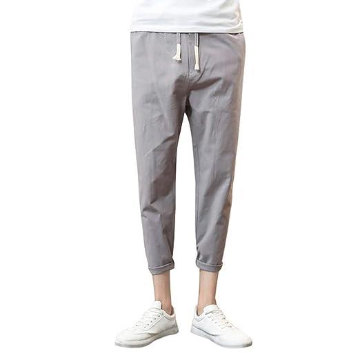 1023309f0d wodceeke Fashion Men Pure Color Pants, Cotton Linen Casual Drawstrintg  Elastic Waist Summer Beach Pants at Amazon Men's Clothing store: