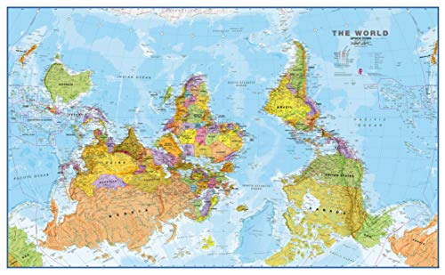 Maps International Large Upside Down Political World Wall Map - Laminated - 48 x 36