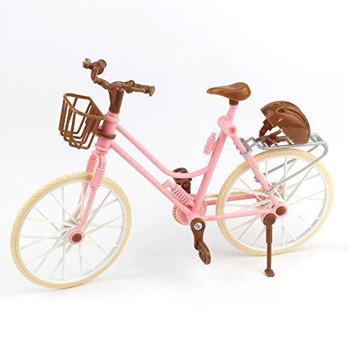 Alician Pink Bicycle Play House Toy Detachable Bike + Basket + Brown Helmet Kids Toys Barbie Dolls Accessories
