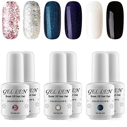 Gellen UV LED Gel Nail Polish - 6 Colors (Includings Classic Black White Holographic Glitters), 8ml Nail Art Gift Set
