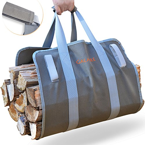 GALAFIRE Premium Quality Supersized Firewood Carrier Log Tote Heavy 16oz Canvas Comfortable Padded Handles Foldable with Hook and Loop