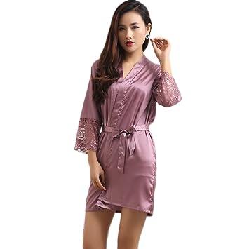 XUANLI Mujer Kimono Batas de Cuello V Satín Camisón Color Puro Estilo Corto con Encaje (Púrpura-X-Large): Amazon.es: Hogar