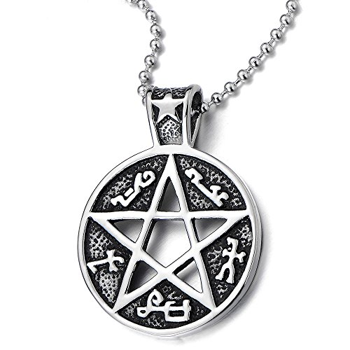 Vintage Pentagram Pendant Necklace Stainless