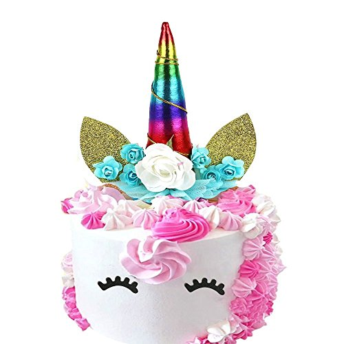 Unicorn Birthday Cake Toppers set. Unicorn Horn, Ears Eyelash,and flowers Set. Unicorn Party Decoration for baby shower,wedding and birthday party (Cake Decorating Kit Birthday Topper)