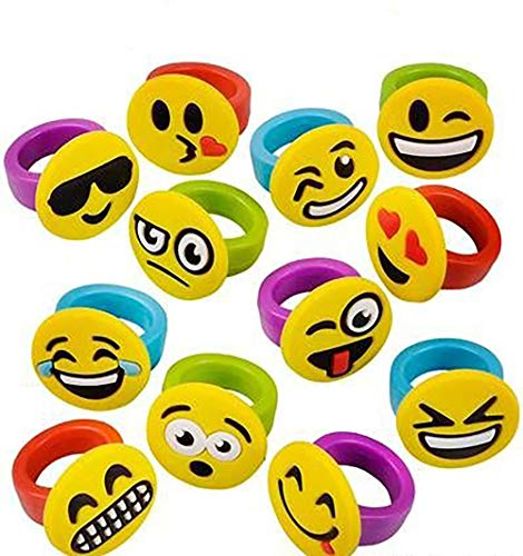 1 Inch Emoticon Rubber Rings Emojis - 60 Pieces - Variety of Funny Expressions and Smileys - Great Party Favor – by Kidsco ()