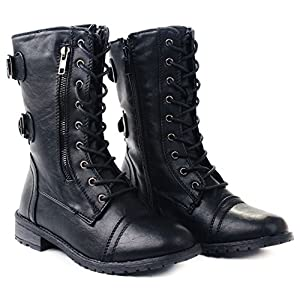 JJF Shoes Mango-61 Women Black Combat Lace Up Zip Grommet Buckle Mid Calf Motorcycle Boots-10
