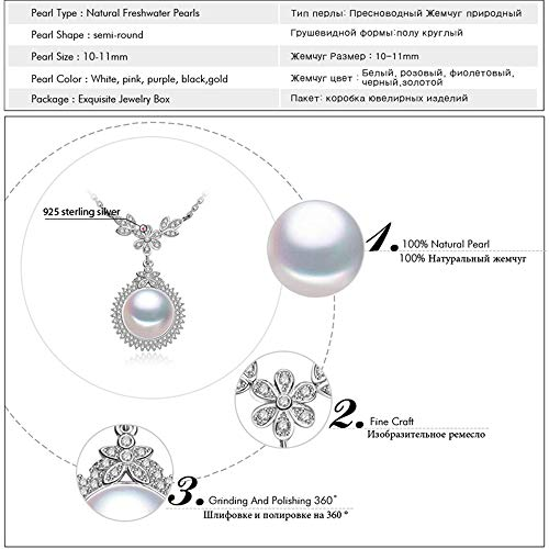 GLEENECKLAC Black Pearl Pendant Necklaces for Women Freshwater Pearls Cubic Zirconia Fine Jewelry 925 Sterling Silver Chain