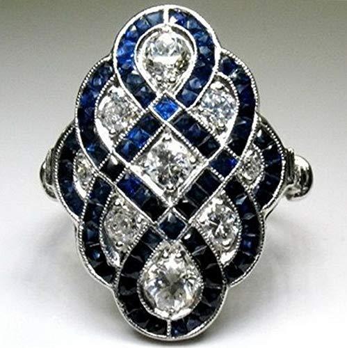 - Crookston Women 925 Silver Ring White Topaz Sapphire Jewelry Men Wedding Gift Sz 6-10 | Model RNG - 15518 | 10