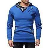 haoricu Men's Slim Fit Hoodie Top Long Sleeve Autumn Winter Casual Camouflage Zipper Blouse