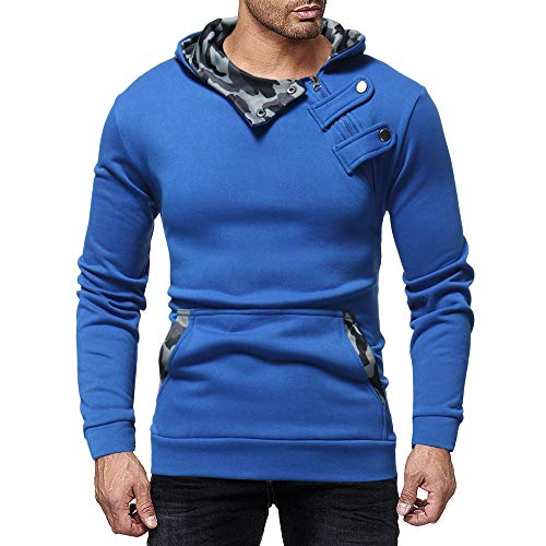 haoricu Men's Slim Fit Hoodie Top Long Sleeve Autumn Winter Casual Camouflage Zipper Blouse by haoricu