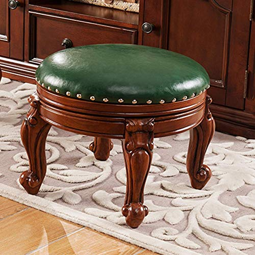 Stool Round Leather Ottoman footrest upholsteted Footstool 360° Swivel Wood Living Room Bench(Size:15 X 15 X13 1/2