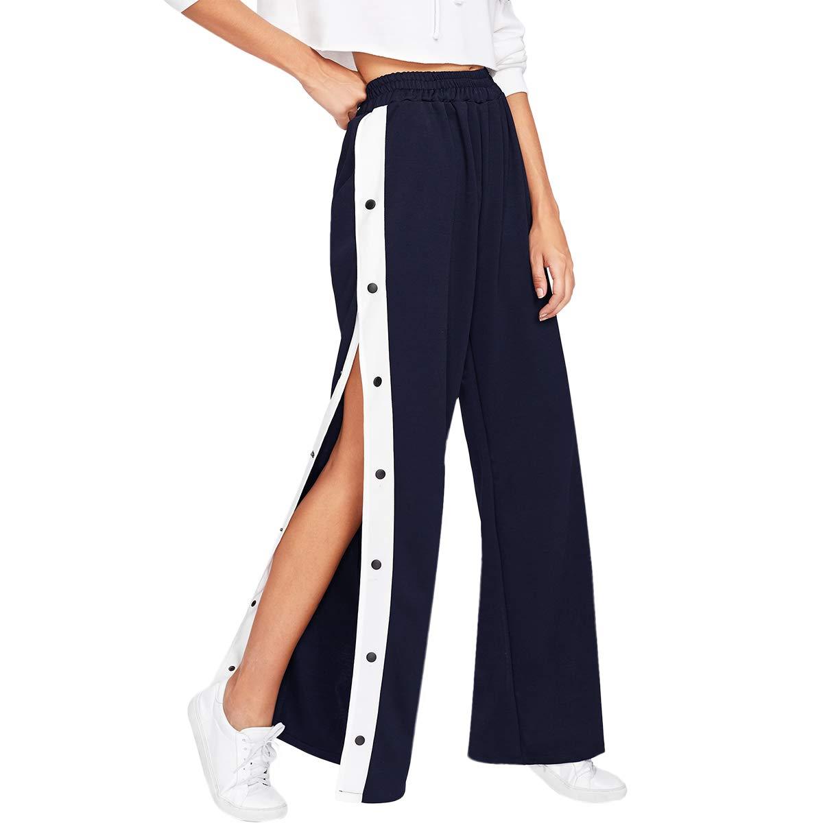 877da40ba042 SOLY HUX Damen Hosen Sweatshose Streifen Sweatpants Elastischer Bund  Jogginghose mit Knöpfe