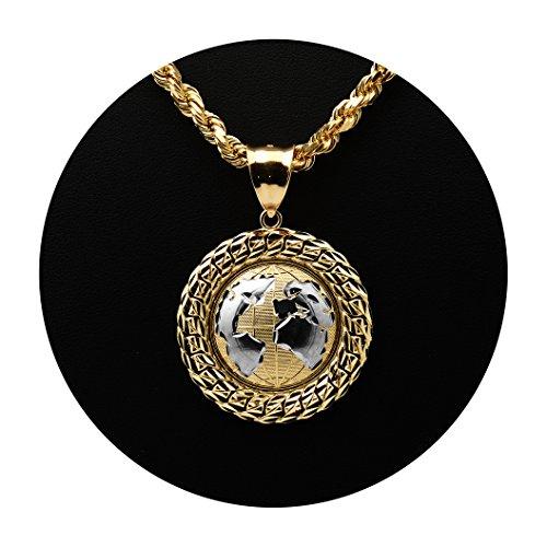 Yellow Gold Globe Charm (LoveBling 10K Yellow Gold Two-Tone World Map Globe Charm Pendant w/ Cuban Link Border (1.87