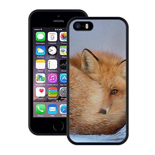 Fuchs | Handgefertigt | iPhone 5 5s SE | Schwarze Hülle