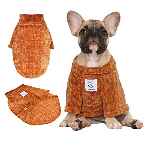 (iChoue Pet Dog Winter Warm Sweater Knitted Clothes Turtleneck for French Bulldog Pug Boston Terrier Corduroy Cold Weather Pullover Coat Shirt - Coffee/Size L)