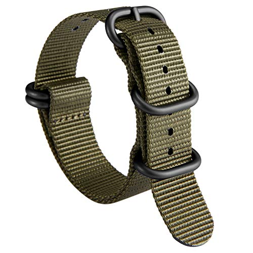 NATO Zulu Watch Strap Thick G10 Premium Ballistic Nylon Replacement Bands for Men 18mm 19mm 20mm 21mm 22mm 23mm 24mm with Military Heavy Duty Stainless Steel Buckle (Zulu Watch Strap)