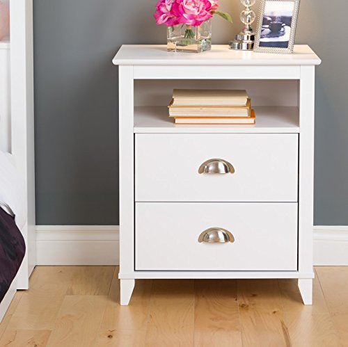 Traditional Two Drawers and One Open Shelf Nightstand for Additional Storage with White -