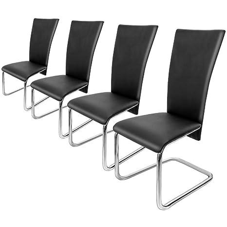 Deuba 4er Set Freischwinger Esszimmerstuhl Schwarz - Schwingstühle Küchenstühle Esszimmer Küchenstuhl Esszimmerstühle Stuhlgr