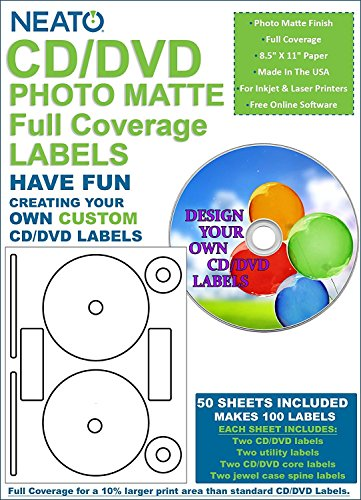 Neato CD/DVD PhotoMatte Full Coverage Labels - 50 Sheets - Makes 100 Labels - Online Design Software Included