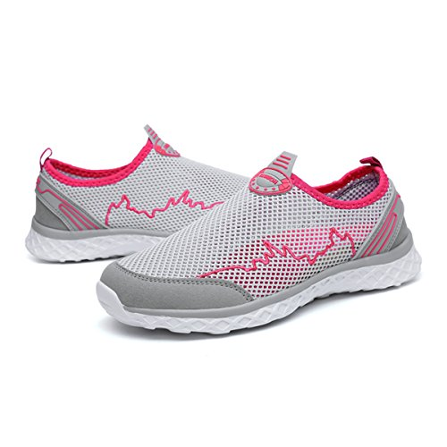 Mesh amp; Grey Quick Women Men Lightweight Shoes for Walking Drying Athletic Shoes Rose Slip Water Shoes On gracosy aH86qFEwxn