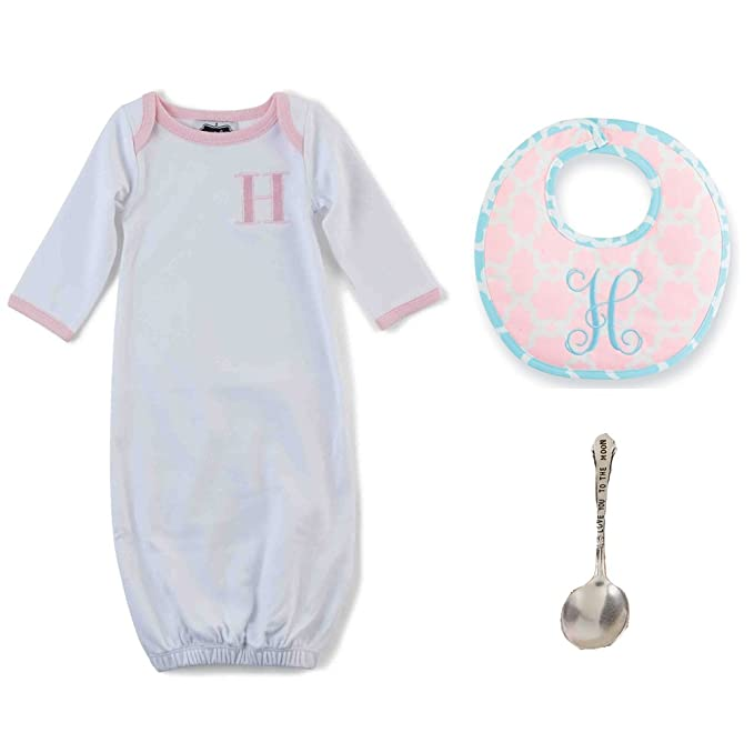 96584b321f86 Amazon.com  Mud Pie Pink Initial Sleep Gown with Bib   Spoon (Pink H ...