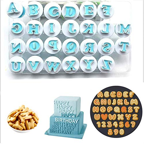 Alphabet Letter Mold Set - Cookie Stamp Impress Embosser Cutter Alphabet Cookie Cutter,Alphabet Letter Molds Biscuit Decorative Tools for Birthday Cake