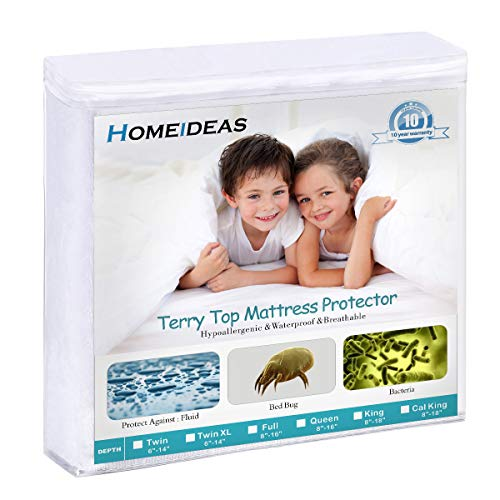 """HOMEIDEAS Premium Waterproof Mattress Protector, Breathable & Quiet Mattress Cover, Fitted 14""""-18"""" Deep, Soft Cotton Terry Surface, Safe Sleep for Adults & Kids, Oeko-TEX, Vinyl Free (Queen)"""