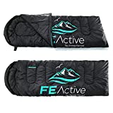 FE Active - Sleeping Bag 3-4 Seasons with Hood, Extra Long 90' x 31', Water Resistant Sleeping Bag for Outdoors, Camping, Backpacking, Hiking, Trekking | Designed in California, USA