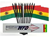 WHOLESALE Box of 144 4''x6'' Bolivia Miniature Desk & Table Flags, 12 Dozen 4''x 6'' Bolivian Small Mini Stick Flag