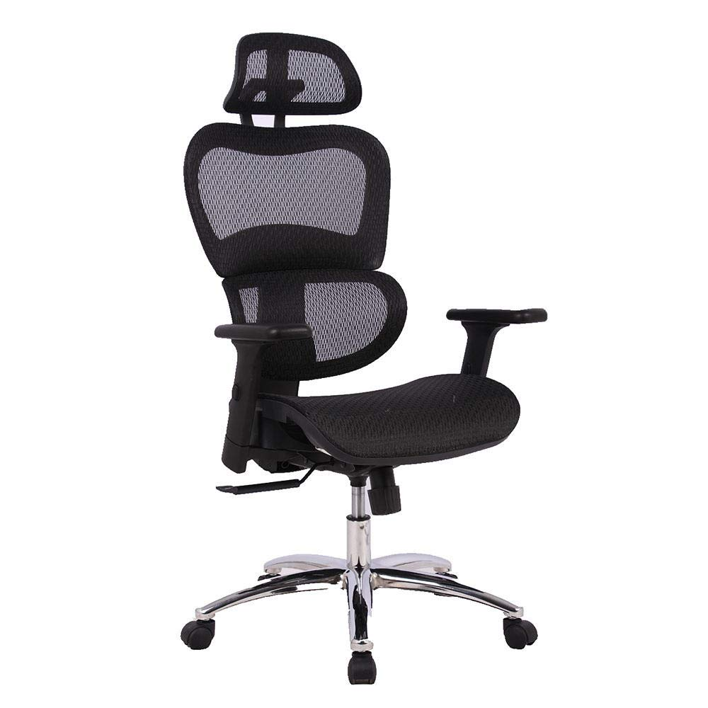 Moustache Mesh High Back Executive Swivel &Tilt Recline Office Chair with Adjustable Headrest & Padded Flip-Up Armrest, Task Computer Desk Arm/Head Rest Basic Chair, Black