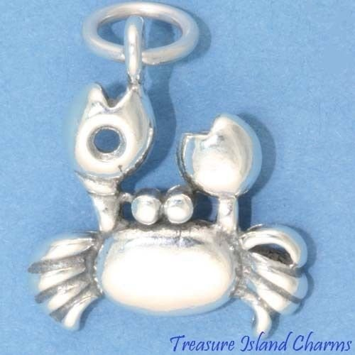 Crab Cancer Zodiac Sign 925 Sterling Silver Charm Crafting Key Chain Bracelet Necklace Jewelry Accessories Pendants
