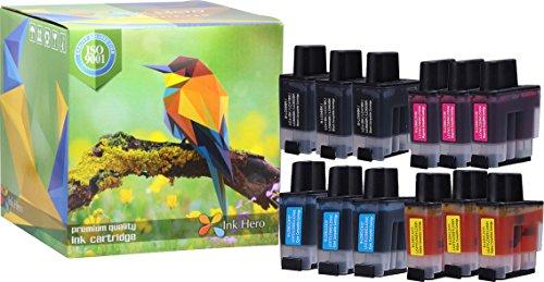 1840c Inkjet (Ink Hero 12 Pack Ink Cartridges for Brother LC-41 DCP 110C 115C 120C 314CN Intellifax 1840C 1940CN 2440C MFC 210C 215C 3240C 3340CN 420CN 425CN 5440CN 5840CN 620CN 640CW 820CW)