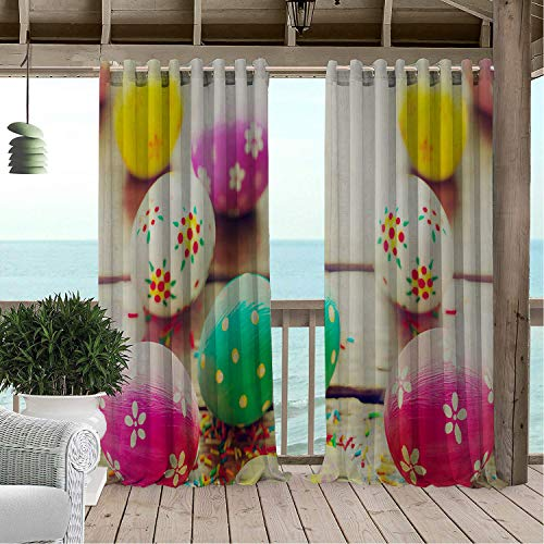 Linhomedecor Outdoor Waterproof Curtain Happy Easter Day Colorful Easter Eggs 9 pergola Grommets Parties Curtain 84 by 96 inch