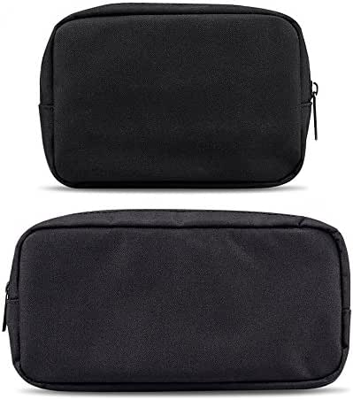 ERCRYSTO Universal Electronics/Accessories Soft Carrying Case Bag, Durable & Light-Weight,Suitable for Out-Going, Business, Travel and Cosmetics Kit (Small+Big-Black)