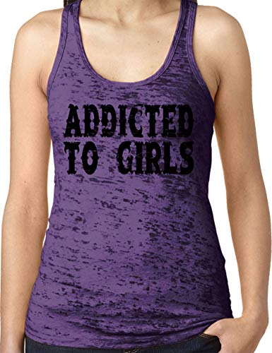 (Amdesco Ladies Addicted to Girls Burnout Racerback Tank Top, Purple Rush Small)