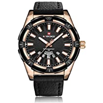 Naviforce Prince of Charm Rose Gold & Black Leather Belt Wri