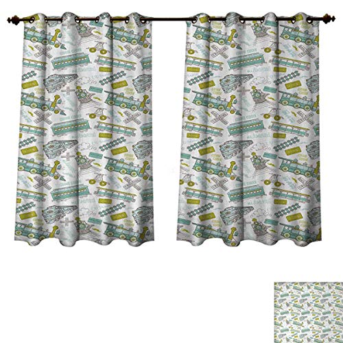 (Anzhouqux Steam Engine Blackout Thermal Curtain Panel Choo Choo Train Kids Boy Pattern Blue Green Number Plate Vintage Patterned Drape for Glass Door Apple Green Turquoise W72 x L45 inch)