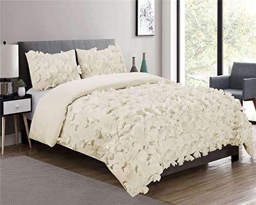 (HIG 3 Piece Comforter Set King-Ivory Microfiber One Hundred Burrterfly Flower Applique -Enfield Bedding Collection King Size-Soft, Hypoallergenic,Fade Resistant-1 Comforter,2 Standard)